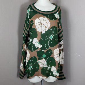 Anna Sui Green Floral Long Sleeve Blouse